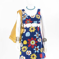 Vintage 1960s Gogo Dress 70s Mini Cutout Midriff Sundress in Bold Floral Graphic Print