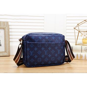 LV Louis Vuitton Hot Sale Women Leather Shoulder Bag Crossbody Satchel Blue