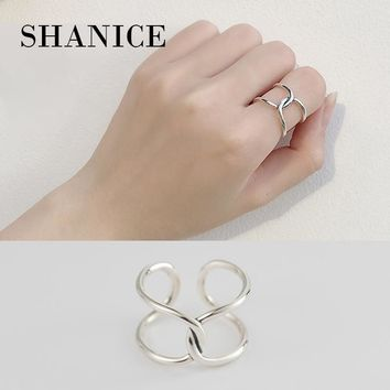 SHANICE 925 Sterling Silver Crescent Simple Hollow Cross Deasign Open Finger Ring for Women Wedding Party Jewelry Gift