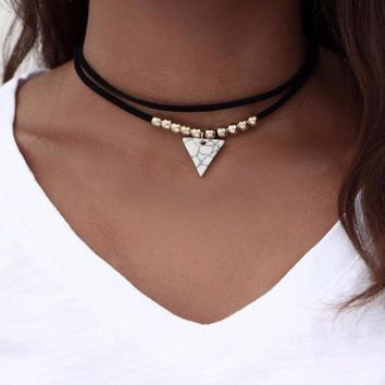 Triangle Stone Choker Pendant Double Layer Necklace