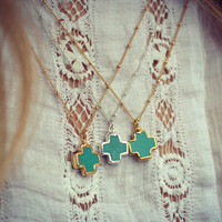 MARIA RA ///  Electroformed Turquoise Cross /// Boho by luxdivine