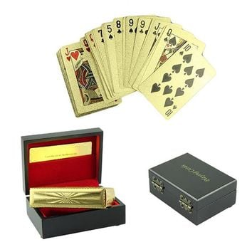 NEW 24K Gold Foil Plated Poker Game Playing Cards Gift Collection +Certificate with Wood Box