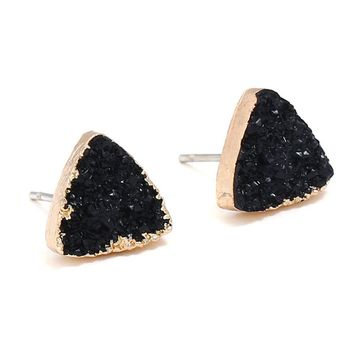 Unique Design Broncos Resin Quartz Crystal Stud Earrings For Women Gold Color Triangle and Round 3 Color Stone Black Earring