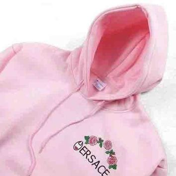 CREYV9O Versace X Champion Trending Casual Flower Rose Embroidered Sweater Hoodie Pullover Pink