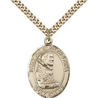 "Saint Pio Of Pietrelcina Medal For Men - Gold Filled Necklace On 24"" Chain - ... 617759398410"