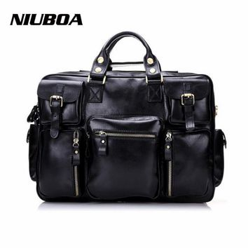 Man Genuine Leather Shoulder Bags Top Quality Euro Style Multi Pocket Business Travel Handbag Solid Zipper Messenger Bags