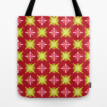 Artistic red green pattern Tote Bag by cycreation