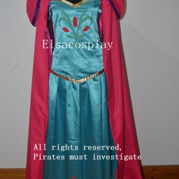 New - Elsa Coronation Dress, Elsa Coronation Costume, with Elsa Coronation Cape and Elsa Coronation Gloves  Adult/Kids Size