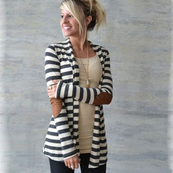 New Autumn Winter Outwear Women Casual  Striped Coat TXY0826001
