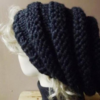 Knit Hat Women's Hat Slouch Beret Chunky Beehive Pillbox Hat Jet Black Oversized Winter Headwear