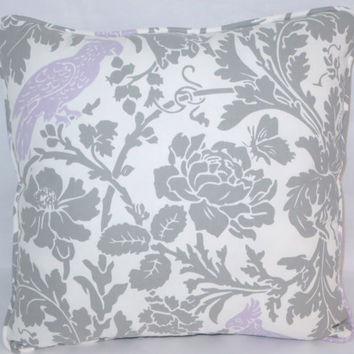 "Grey Floral with Purple Bird Pillow,  17"" Square,  Gray and White Cotton, Welted Edge, Lavender Cockatoo,  Insert Included,  Ready Ship"