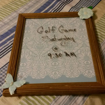 Up-Cycled Cottage Chic Original Wood Whiteboard With Blue and White Background and Pale Blue Flower and Butterfly for Accents