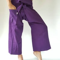Thai Fisherman Pants with Thai hand woven fabric on waist side, Wide Leg pants, Wrap pants, Unisex pants