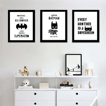 Super Hero Batman Modern Black White Wall Art Canvas Painting Posters And Prints Wall Pictures Forkids  Living Room