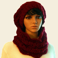 Burgundy Cowl Scarf Neck Warmer Handmade Lacy Crochet Knit Cowl Scarves