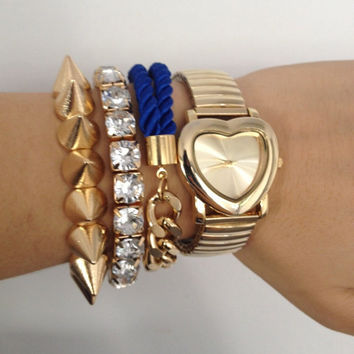 Arm party - Am candy - Chunky Chain Bracelet set - 24k gold plated