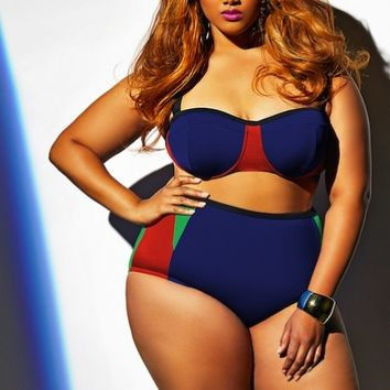 """Santa Rosa"" Plus Size Bikini Top w/Underwire - Blue Multi - Shop All Swimwear - Swimwear - Monif C"