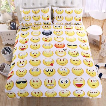 Emoji Bedding Set Cute and Fashion Duvet Cover for kids Printed Bed linen 3Pcs