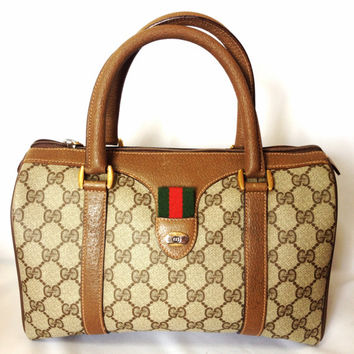 80's vintage Gucci classic brown monogram webbing sherry line speedy style mini duffle bag. Unisex. Masterpiece purse, Accessory Collection.