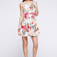 Floral Brilliance Open Back Dress