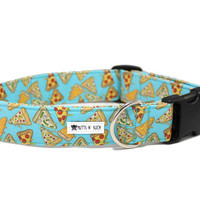 Dog Collar, Boy Dog Collar, Girl Dog Collar, Pizza Dog Collar, Food Dog Collar, Funny Dog Collar (Upgrade to Metal Buckle or Martingale)
