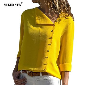 VIEUNSTA 10 Colors Side Button Irregular Blouse Shirts Women Long Sleeve Streetwear Blouses Skew Collar Tops Blusa Feminina
