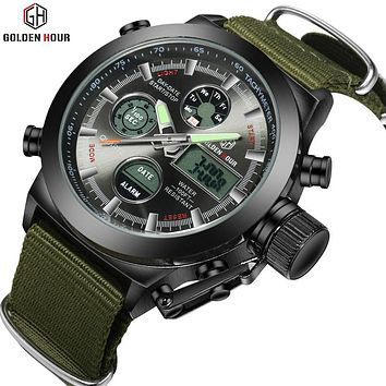 Army Military Watch Canvas Strap Steel Case 30ATM Waterproof  Watches