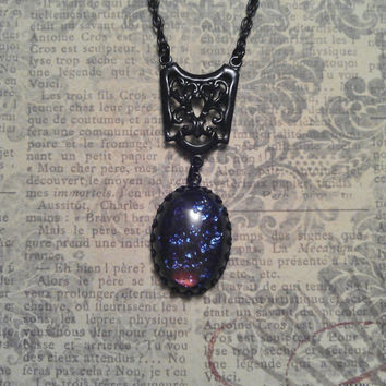 Vintage Dragon's Breath Jelly Opal Glass in Black Patina Crown Edge Setting with Filigree Connector Pendant on Necklace