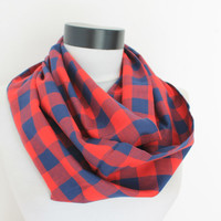 red plaid scarf,infinity scarf, scarf, scarves, long scarf, loop scarf, gift