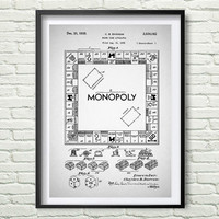 Monopoly 1935 Patent Art Illustration, White, black, gray, blue Printable INSTANT DOWNLOAD - Get 5 Colors Background *5*