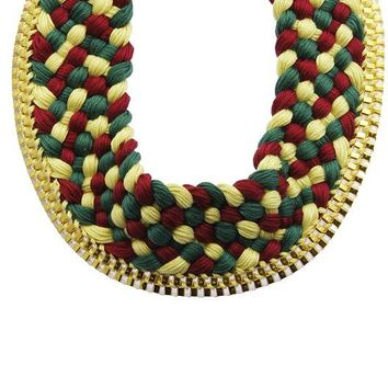 Teal Braided Multi Color Thread Bib Necklace