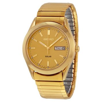 Seiko Solar Quartz Gold-tone Expansion Band Mens Watch SNE058