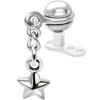 Surgical Steel Dangling Star Dermal Anchor Top | Body Candy Body Jewelry