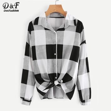 Checked Knot Front Plaid Shirt Black And White Lapel Long Sleeve Woman Top Autumn Button Equipment Blouse