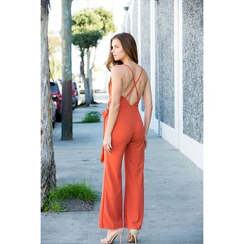 Rust Sleeveless Solid Jumpsuit