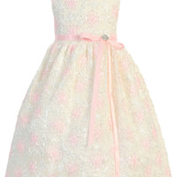 Ivory Mesh Girls Dress Covered w. Satin Ribbon Flowers 2T-8