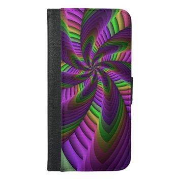 Neon Colors Flash Crazy Colorful Fractal Pattern iPhone 6/6s Plus Wallet Case