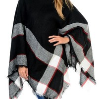 Turtleneck Plaid Poncho, Black