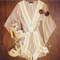 Jackie Lace Romper - Taupe
