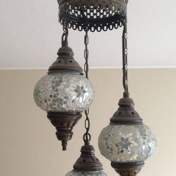Best turkish lamps products on wanelo silver white ceiling lamp with 3 hand made mosaic bulbs turkish lamp lantern aloadofball Choice Image