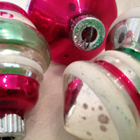 Vintage Glass Shiny Brite Ornament Trio in Red, Green and White
