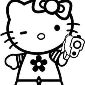 Hello Kitty Gun  Vinyl Car/Laptop/Window/Wall Decal