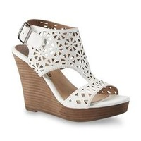 Restricted Women's Miss White Cutout Platform Wedge Shoe
