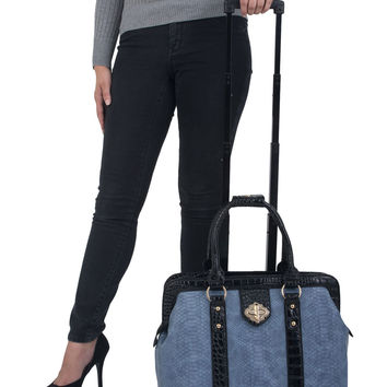 """THE SANTA BARBARA"" Blue Python Rolling Laptop Carryall Trolley Bag"