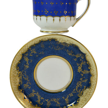 Coffee Cup and Saucer in Blue with Gold Scrolls by Crown Staffordshire, Antique English, Early 1900s