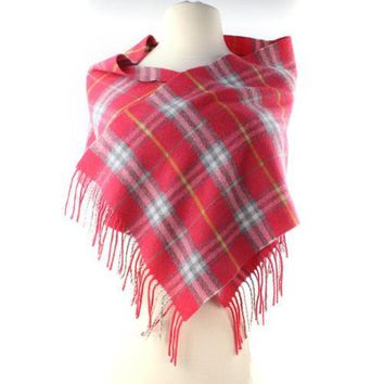 Burberry Pink Salmon Yellow Gray Check Merino Wool Scarf Long Skinny Fringe AUTH