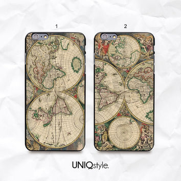 "Vintage Old Retro World Map phone case - iPhone 6 4.7"", iPhone 6 Plus, iPhone 4/4s/5/5s/5c, Samsung S4, S4 active, S5, Note 3, Note 4 - N46"
