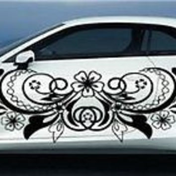 Girly Design Flowers and Moon CAR Vinyl Side 2 Graphics Decals Any Car 7769