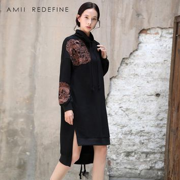 Amii Redefine Embroidery Hooded Sweatershirt Chinese Cartoon Long Dresses Women Autumn 2018 Vintage Loose Asymmetrical Hem