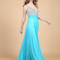 Fanhao Women's V Neck Sequins Chiffon Bridal Evening party Long prom dress,Cyan,6